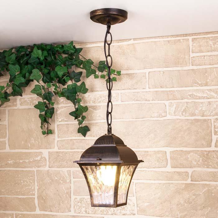 Уличный подвесной светильник Elektrostandard Apus H черное золото (GL 1009H)
